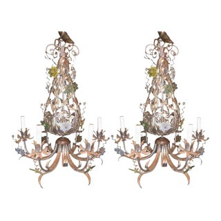 Pair of Silver Overlay Metal Chandeliers with Glass Murano Flowers Six Lights