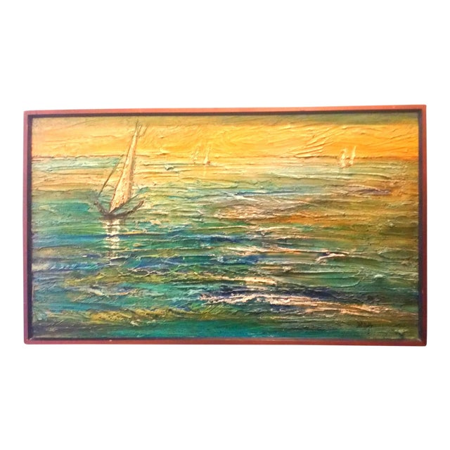 Van Hoople Ship Boat at Sea Oil Painting Mid Century Seascape For Sale