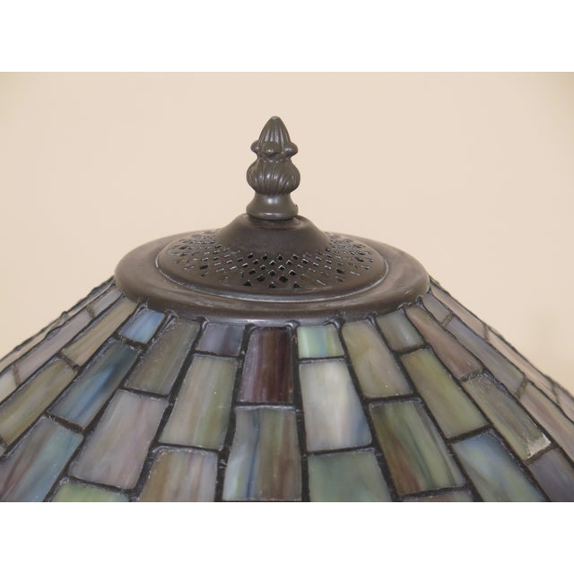 Quoizel Arts & Crafts Stained Glass Lamp For Sale - Image 4 of 9