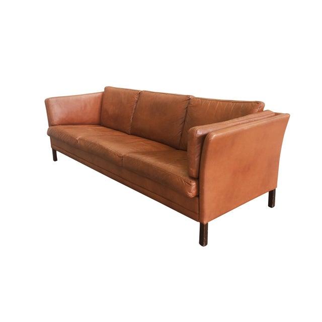 Danish Modern Danish Mid-Century Modern Leather Sofa by Mogens Hansen For Sale - Image 3 of 11