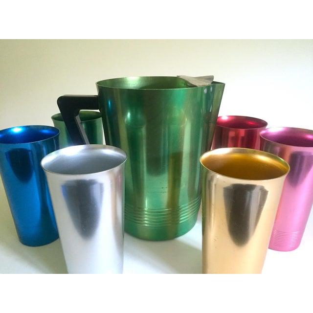 Boho Chic Vintage Mid Century Modern Rare Anodized Spun Aluminum Multicolor Beverage Set - 7Pc For Sale - Image 3 of 12