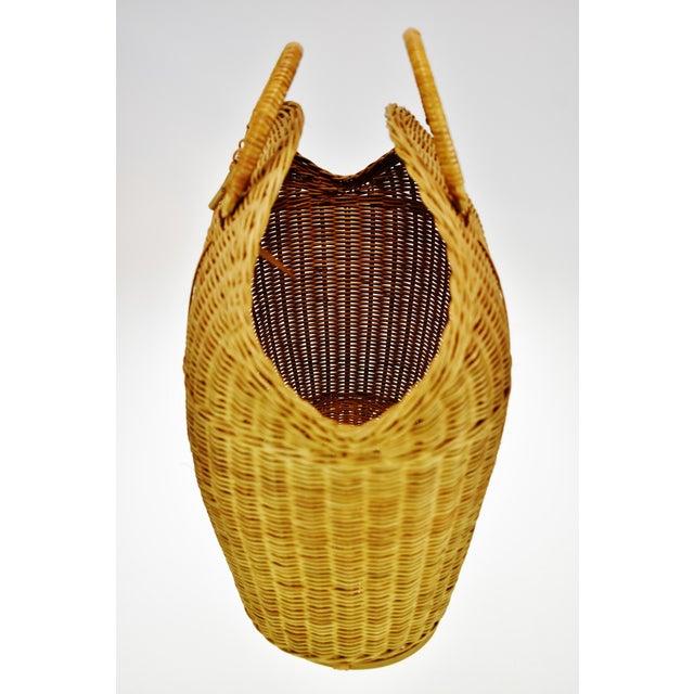Wicker Vintage Wicker Tote Basket For Sale - Image 7 of 11