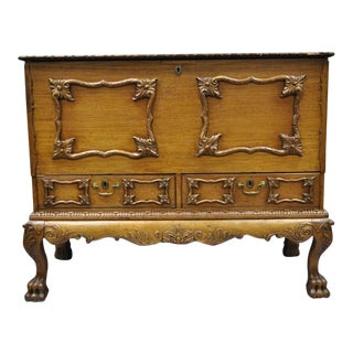 19th Century Georgian George II Style Mahogany Paw Foot Chest For Sale