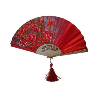 Art Nouveau European Silk & Wood Fan, 1920 For Sale