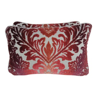 Cut Velvet Clarence House Pillows - a Pair For Sale