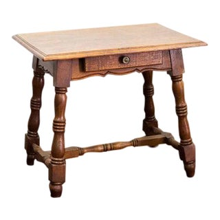 1920s Oak Side Stretcher Table For Sale