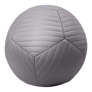 Banded Ottoman in Riverstone Grey Leather by Moses Nadel For Sale