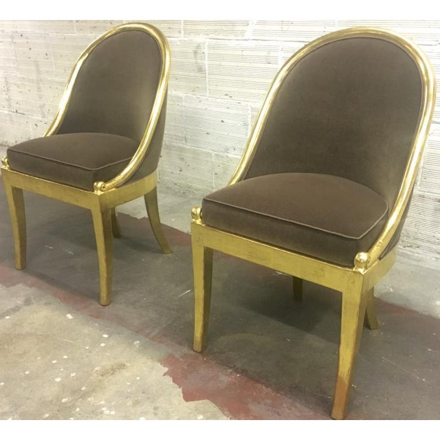 Gold Maurice Dufrene Refined Empire Inspired Gold Leaf Wood Pair of Side Chairs For Sale - Image 8 of 8
