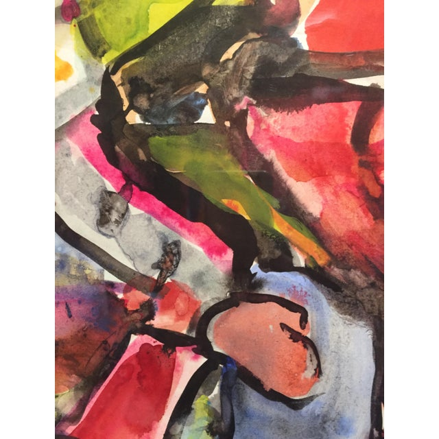 Paper 1976 Figurative Gouache Painting For Sale - Image 7 of 8