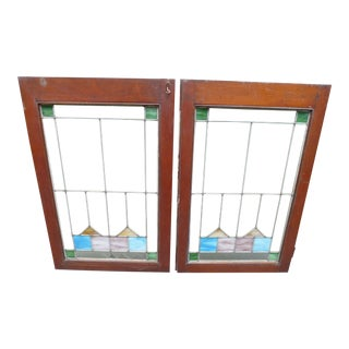 Pair of Arts & Crafts Stained Glass Windows c. 1920 For Sale