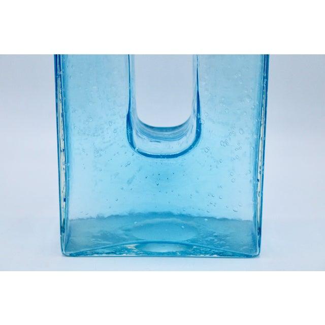 Large Mid Century Modern Aqua Blue Rectangular Glass Vase For Sale - Image 9 of 13