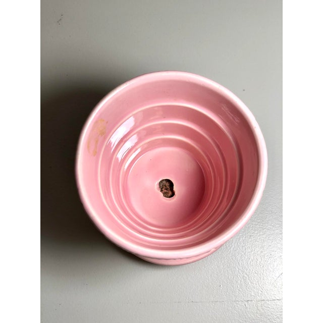 "American McCoy Pottery Small ""Pink"" Mid-Century Flowerpot and Saucer For Sale - Image 3 of 10"