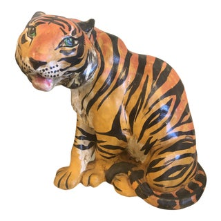 Vintage Hollywood Regency Italian Terracotta Tiger Statue For Sale