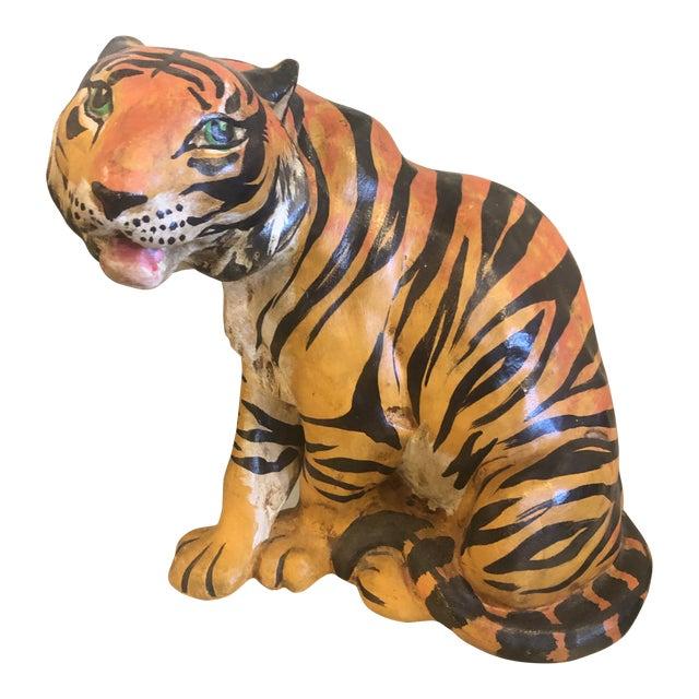 Vintage Hollywood Regency Italian Terracotta Tiger Statue For Sale
