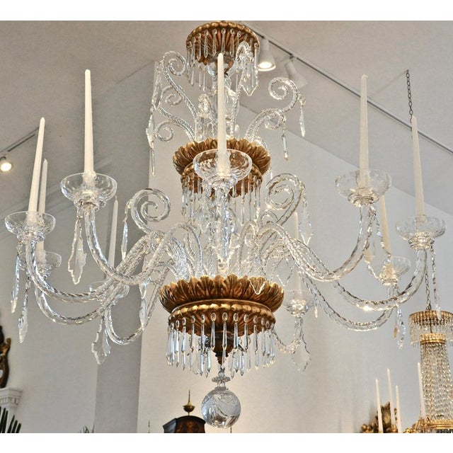 Italian Neoclassical Glass and Gilt Italian Murano or Genoese Chandelier For Sale - Image 3 of 6
