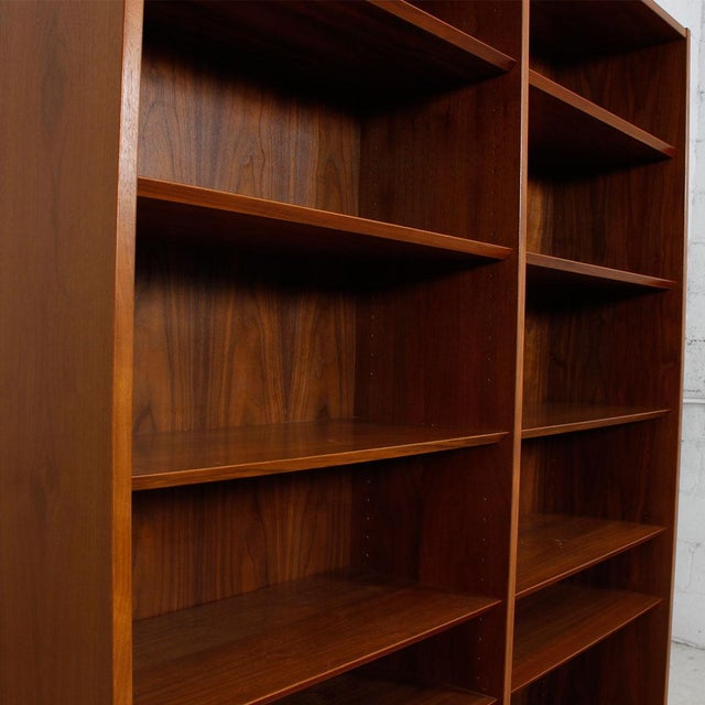 Danish Modern Double Bookcase with Adjustable Shelves in Walnut - Image 6 of 7