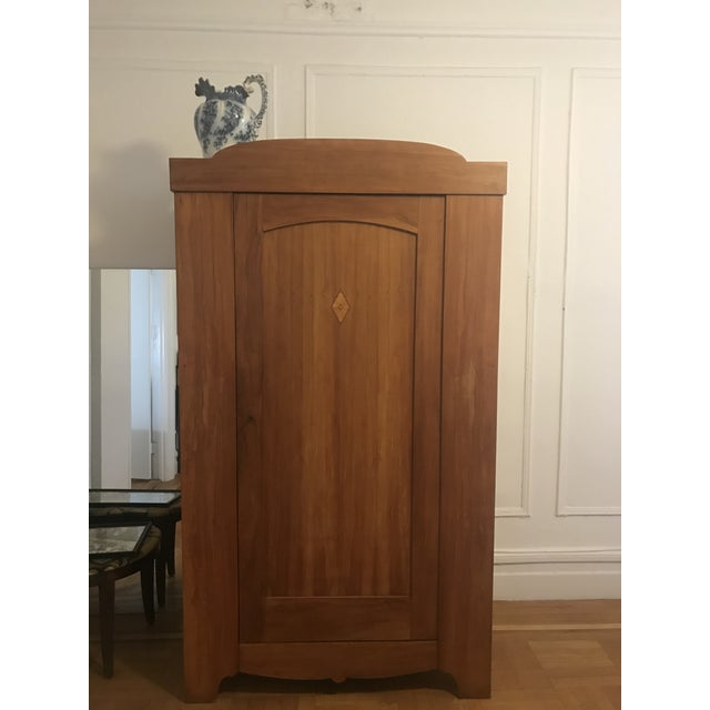 Danish Artisanal Solid Pear Wood Armoire For Sale - Image 4 of 10