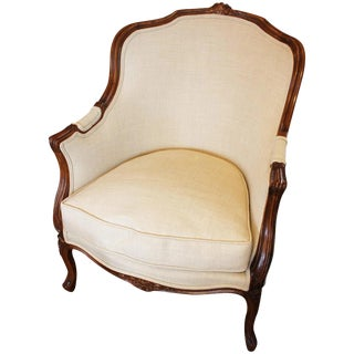 French Rococo Style Beech Bergere For Sale