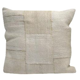 Square Off White/Ivory Kilim Cushion For Sale