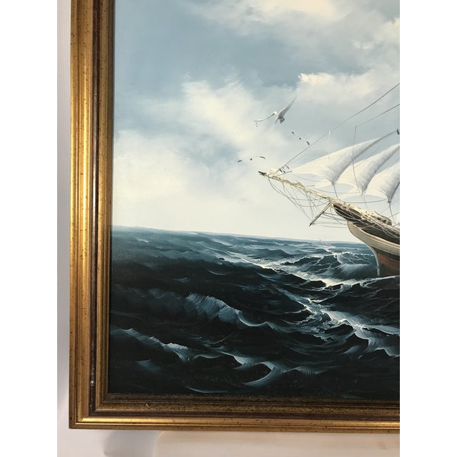 Large Sailing Ship Painting For Sale In Charlotte - Image 6 of 13