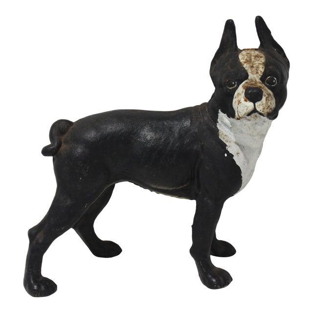 Vintage Hubley Style Boston Terrier Dog 2-Piece Cast Iron Doorstop Door Stop For Sale