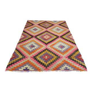 Vintage Turkish Antalya Nomads Kilim Rug-6′8″ × 8′8″ For Sale