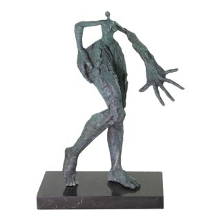 Figurative Green Patina Bronze Sculpture on Marble Base Statue For Sale