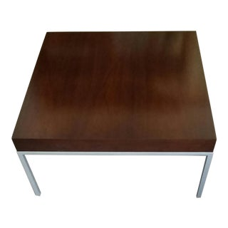 Florence Knoll Style Wood and Chrome Coffee Table