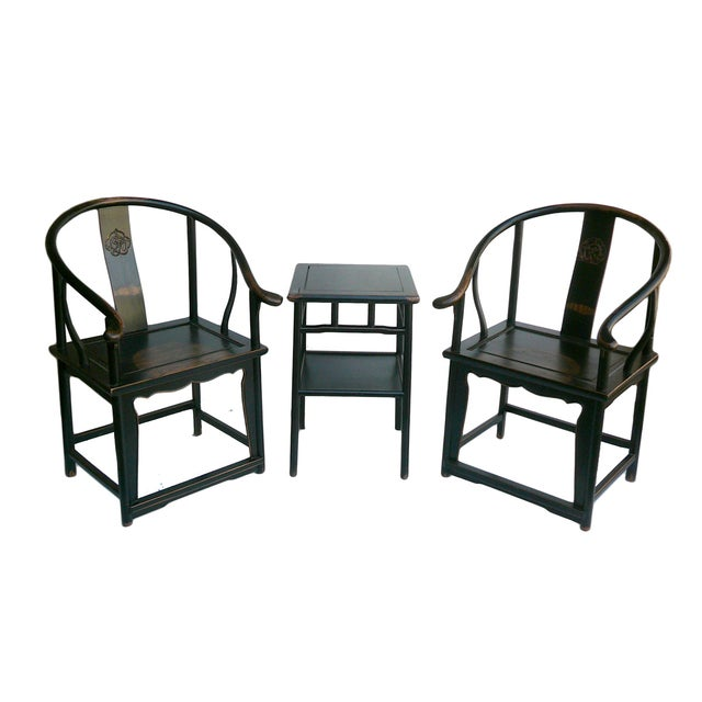 Chinese Black Lacquer Elm Armchairs & Side Table - Image 5 of 6