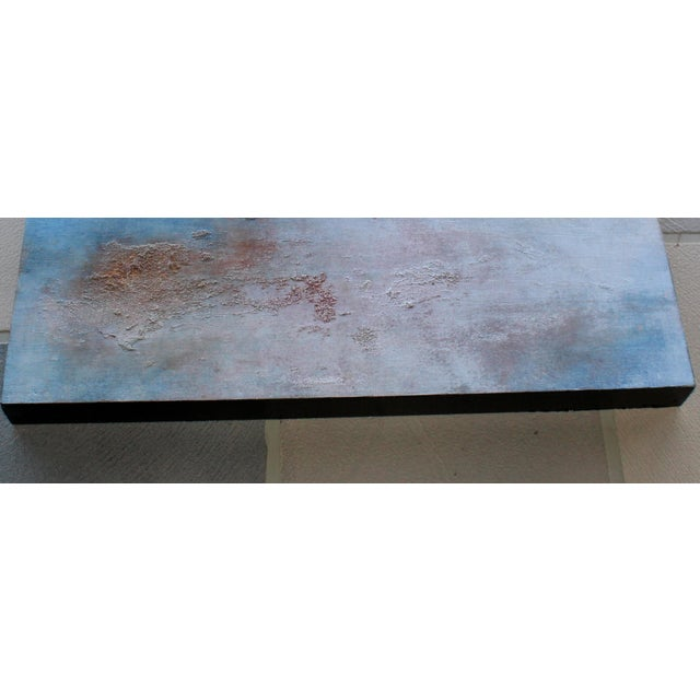 """Sequoia"" Textured Abstract Painting Wood Panel Blue Brick Red Rustic Modern Art - Image 3 of 3"