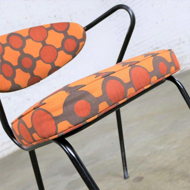 Black Mid Century Modern Black Bent Steel Tube Armchair With New Orange Upholstery For Sale - Image 8 of 13