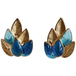 Gripoix Paris Palm Inspired Poured Glass and Gold Clip Earrings For Sale