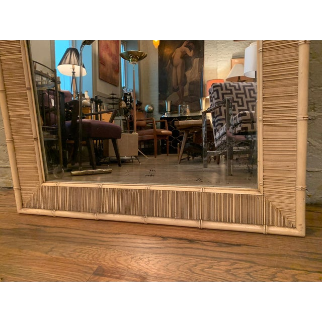 Paul Frankl Style Mid Century Bamboo Motif Wall Mirror For Sale - Image 4 of 6