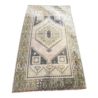 Turkish Oushak Pastel Handwoven Floor Rug - 3′1″ × 5′10″ For Sale