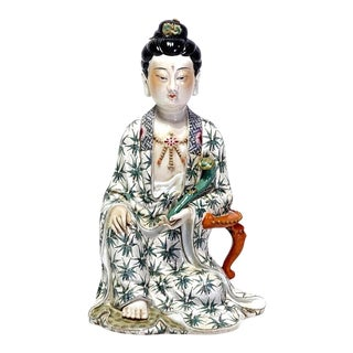 Mid 20th Century Famille Verte Chinese Slip Cast Figure of Guanyin Seated with a Ruyi Septre For Sale