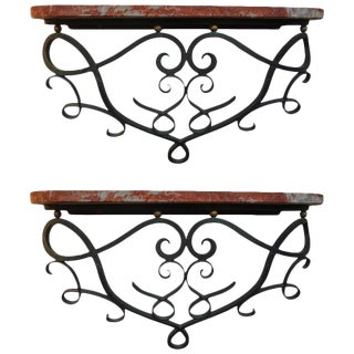 Jean Royere Inspired French Art Deco Wrought Iron Wall Consoles - a Pair For Sale