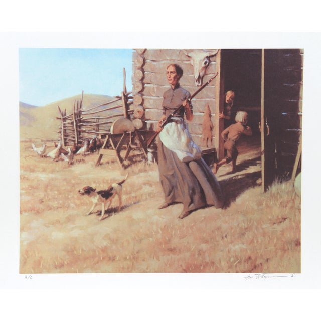 Harvey William Johnson, Woman of the West, Lithograph For Sale