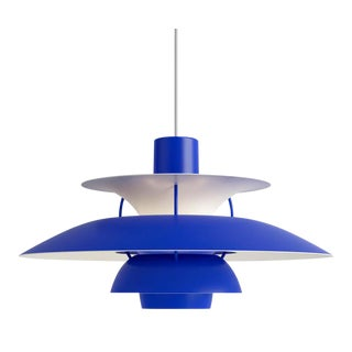 Poul Henningsen Ph5 Mini Pendant for Louis Poulsen in All Blue For Sale