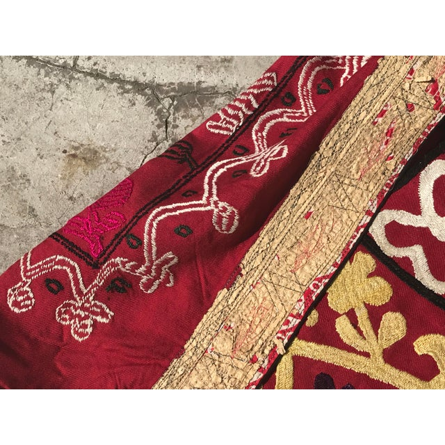 Antique Handmade Suzani Dark Red Tapestry For Sale - Image 5 of 5