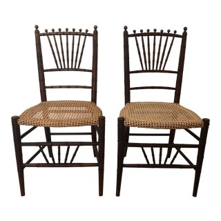 Heywood-Wakefield Caned & Wood Chairs - a Pair For Sale