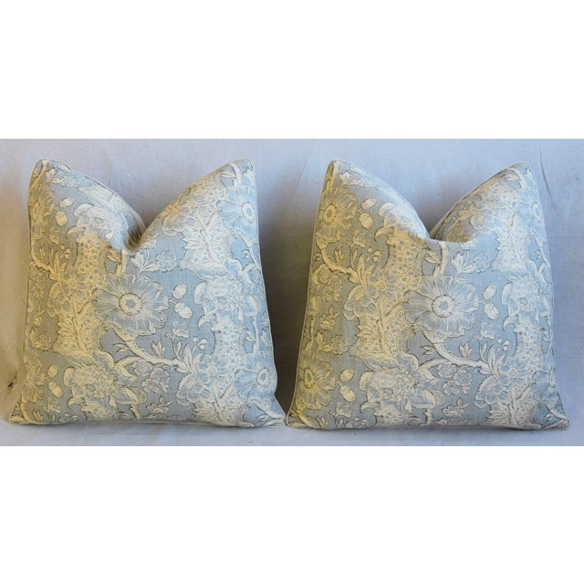 "Designer Hodsoll Camellia/Acorn Linen Feather/Down Pillows 21"" Square - Pair For Sale In Los Angeles - Image 6 of 13"