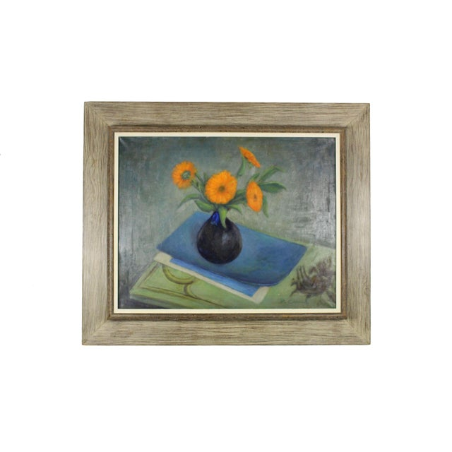 1960s Framed Floral Still Life Oil Painting, Driftwood Frame For Sale - Image 5 of 5