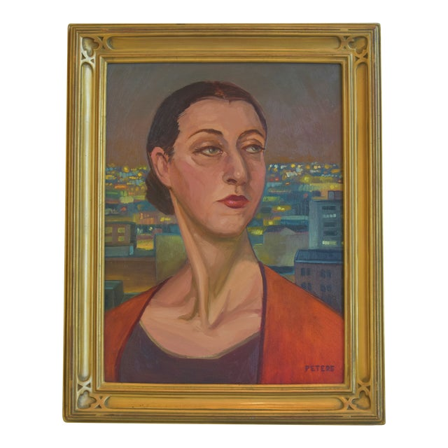 """Artist Tony Peters Female Portrait """"Off Broadway"""" Framed Oil Painting For Sale"""