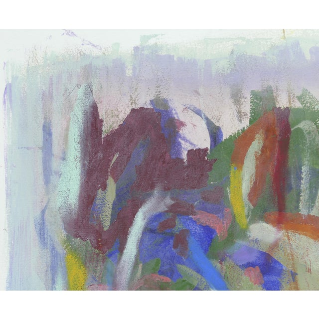 Large Framed Abstract Diptych Signed Acrylic Painting on Paper Dated 2014 For Sale - Image 4 of 13