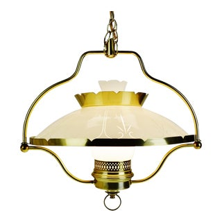 Vintage Hanging Lamp With Frosted to Clear Glass Shade For Sale