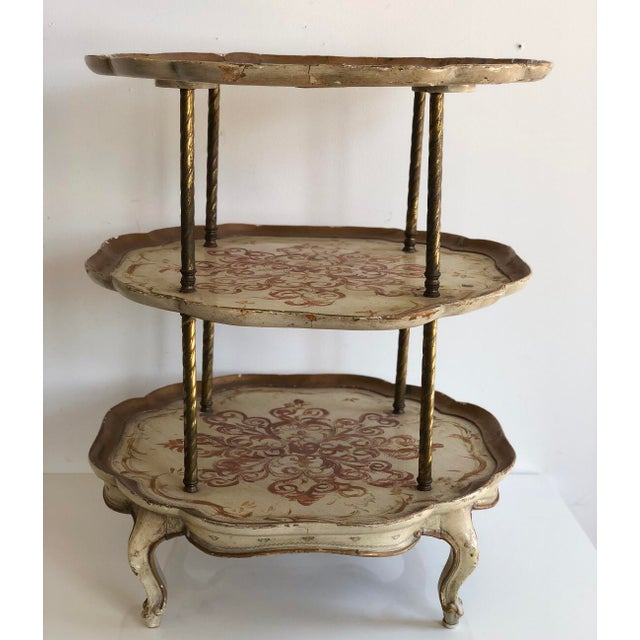 Fabulous rare three tier scalloped Italian Florentine style side accent table with brass twisted rod details and craved...