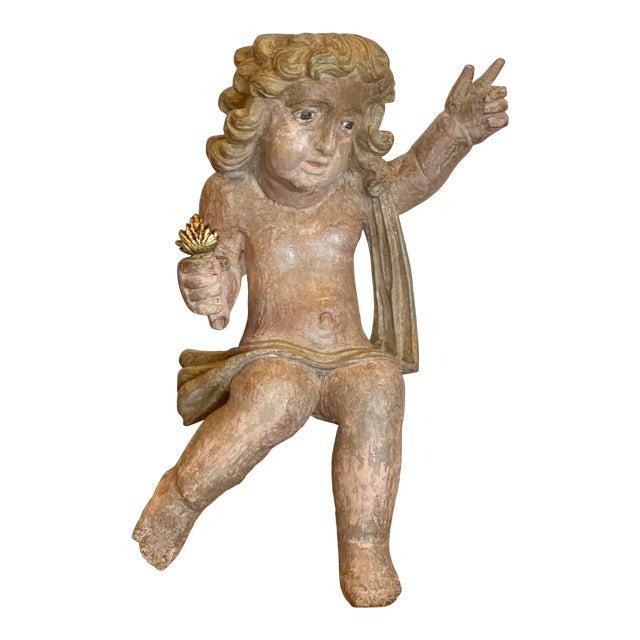 Antique Carved Italian Cherub Angel Putti Figure Sculpture For Sale