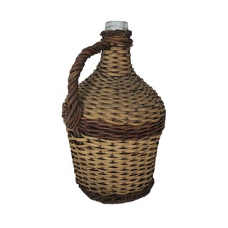 Antique Large Wicker Wrapped Clear Glass Bottle Demijohn Preview