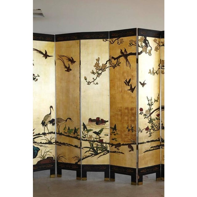 Asian Chinese 12-Panel Double Sided Gold Black Lacquered Coromandel Screen For Sale - Image 3 of 10