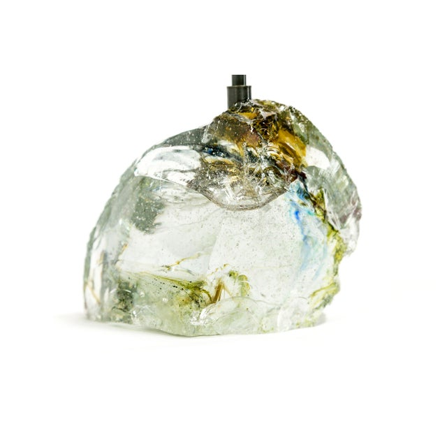 Metal Amber Sea Green & Clear Cullet Glass Rock Lamp For Sale - Image 7 of 9